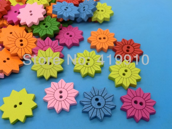 Free shipping -100PCs Randomly Mixed Flower 2 Holes Wood Painting Sewing Buttons Scrapbooking 17mm, J1526