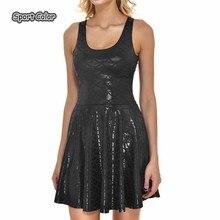 Популярное черное сексуальное женское Спортивное плиссированное платье в виде рыбьей чешуи для тенниса, модные тонкие эластичные женские платья для скейтеров, вечерние платья для занятий спортом, S-4XL