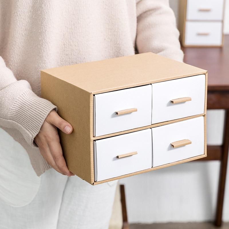 Drawer Type Cardboard Home Storage Box Desk Office Box Eco-friendly Kraft Paper Multi-layer Rectangle Storage Box drawer