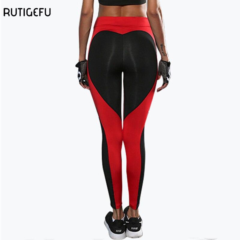 RUTIGEFU Yoga Pantolon Kolaj Güzel Kalp şeklinde Tayt 2017 Izgara Spor Koşu Tayt kadın Fitness Zayıflama Spor Tayt