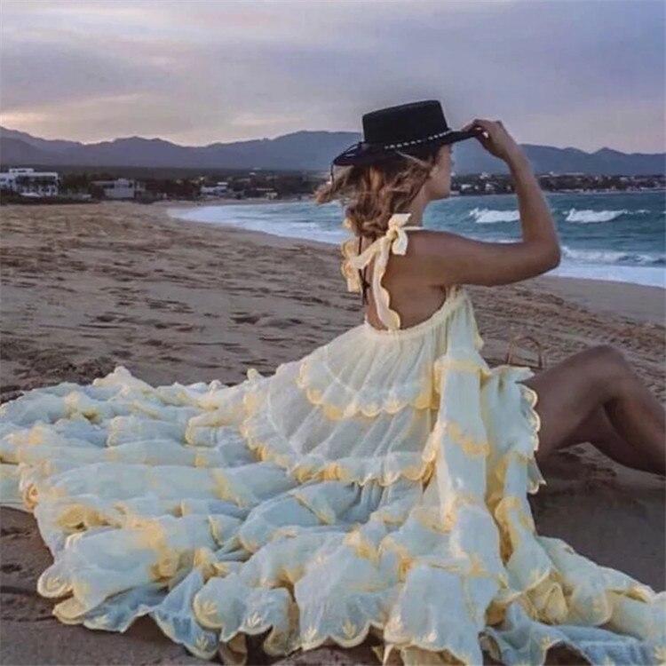 Summer Women's Ruffle Maxi Dress 2020 Retro Ruffles Sleeveless Solid Cake Pleated Dress Pendulum Vacation Loose Strapless Dress