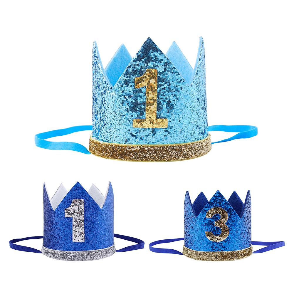 TOPATY Boy Blue Silver First Birthday Hat Girl Gold Pink Priness Crown Number 1st 2 3 Year Old Party Hat Glitter Headband
