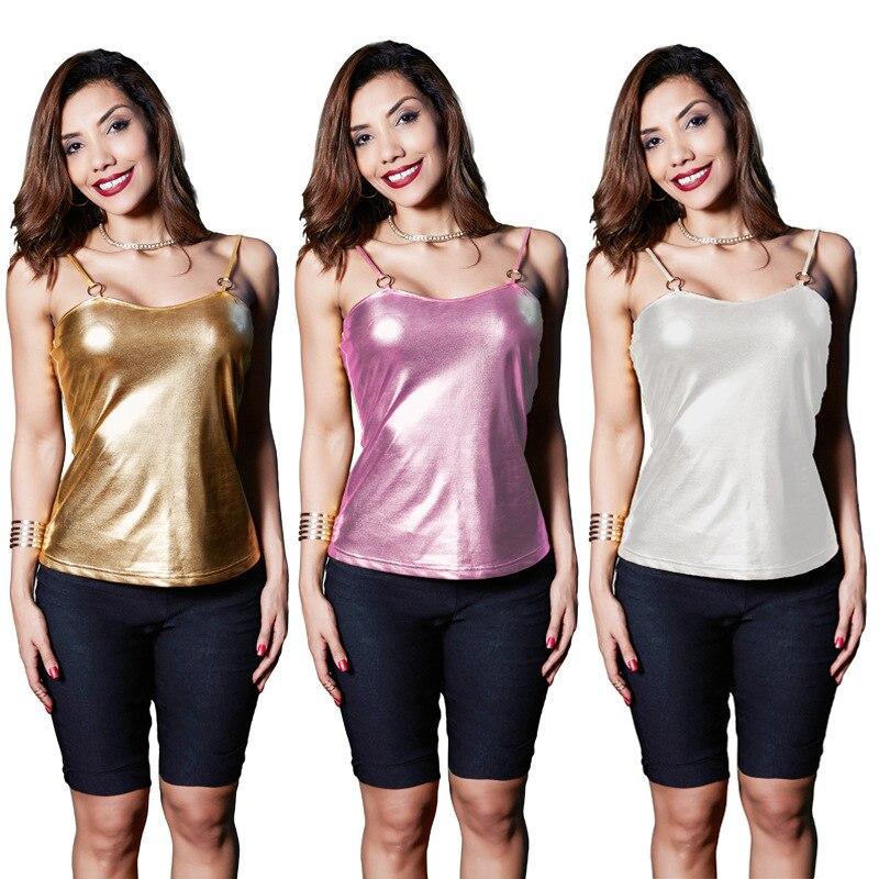 Gold T-shirt women fashion tops T-shirt sexy nightclub coat leather Spaghetti Strap 2017 summer new womens sleeveless T-shirt
