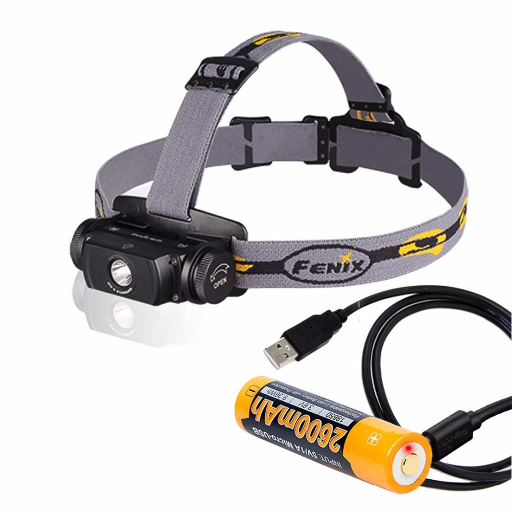 Fenix Flashlights HL55 900 Lumen CREE XM-L2 T6 LED Headlamp with ARB-L18-2600U battery ,USB cable
