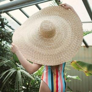 "Image 3 - 38 ซม./15 ""GIANT ขนาดใหญ่ฟางหมวกสำหรับหมวกผู้หญิงฤดูร้อนดวงอาทิตย์ Floppy งานแต่งงาน DERBY หมวกหมวกชายหาดวันหยุด Choice"
