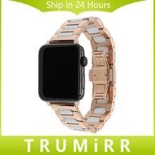 En céramique + bracelet en acier inoxydable pour 38mm 42mm iwatch apple watch bracelet bande butterfly boucle lien bracelet + adaptateurs