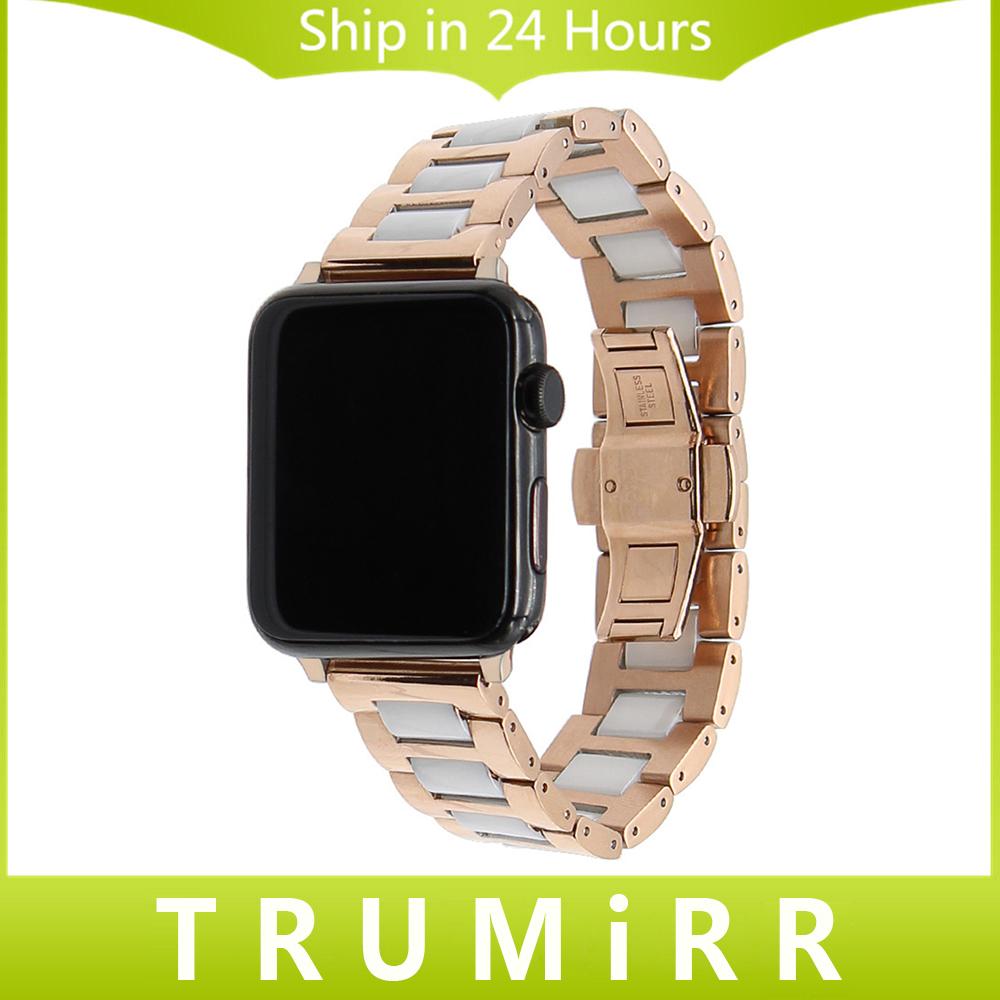 Prix pour En céramique + bracelet en acier inoxydable pour 38mm 42mm iwatch apple watch bracelet bande butterfly boucle lien bracelet + adaptateurs
