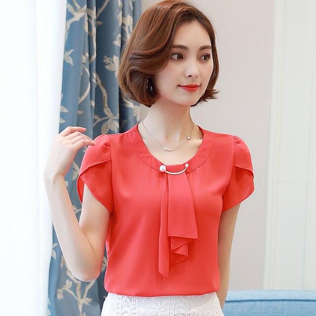 5d0e7818f 2019 verano sólido gasa blusa camisa mujer camisa de manga corta de las  mujeres de oficina