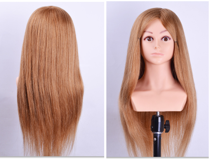 26inch 100% Human Hair Hairdressing Head With Shoulder Cosmetology Training Mannequin Head Hairstyles Practice Dolls