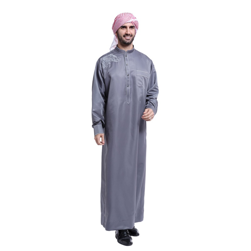 Buy arabia embroidery abaya dubai men 39 s for Mens dress shirt monogram location