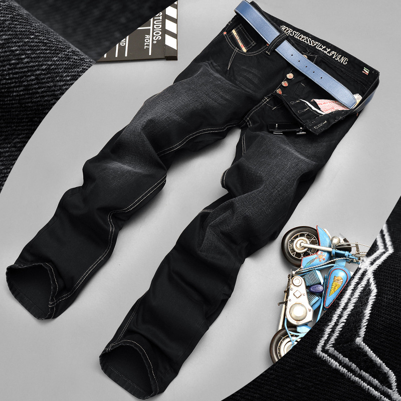Fashion Brand 100% Cotton Spring Summer Men Jeans Slight Classic Denim Pants Male Washed Baggy Blue Designer Causal Jeans Man