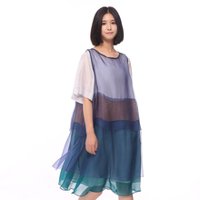 LYNETTE'S CHINOISERIE 2016 Summer Original Design Women o-neck twinset colorant match short-sleeve silk one-piece dress