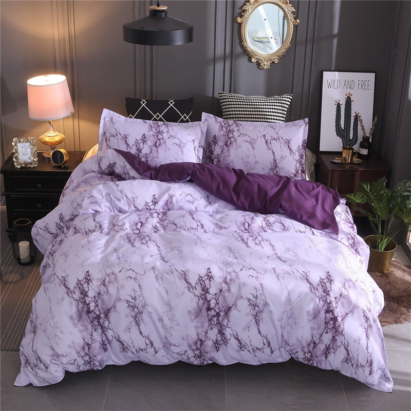Simple Marble Bedding Duvet Cover Set Quilt Cover Twin King Size With Pillow Case Polyester Microfiber Fabric Luxury Soft Duvet-in Bedding Sets from Home & Garden
