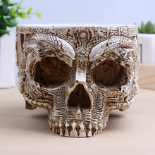 White Antique Sculpture Human Skull Planter Garden Storage Pots Container Macetas Decoration Flower Pot For Home Decor