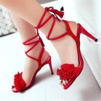 2019 Black Red Women Sexy Fashion Sandals Cuff Fringe Tassel peep toe Sandals High Heel Summer Women Shoes Platform Stilettos