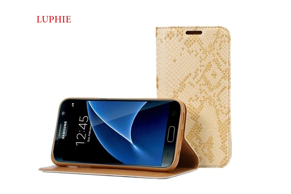 LUPHIE Leather Case For iphone7plus iphone8plus iphone 7 8 plus Snakeskin stripe phone case Flip Fitted Wallet Luxury fashion