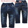 3835 winte vaqueros pantalones del bebé boys & girls pantalones azul marino de dos pisos denim + fleece pantalones de los cabritos calientes la moda de nueva bonito