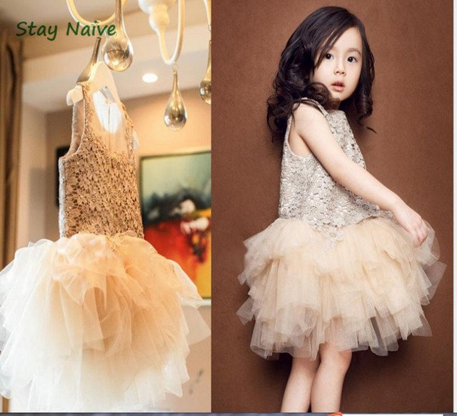 Big brand flower girl dresses champagne lace wedding dress Princess children's birthday party dress