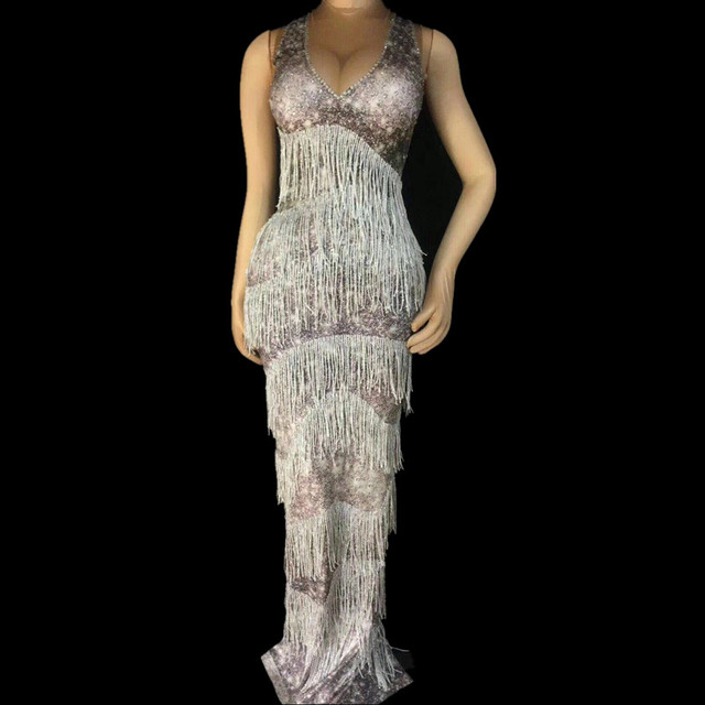 Sexy Gray Tassel Costume Women's Performance Birthday Celebrate Dresses Evening Outfit Summer Long Dress Female Party Wear