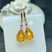 shilovem 18k yellow gold citrine drop  fine Jewelry women party new classic plant gift mym811j