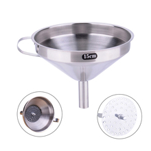 Stainless Steel Funnel Hopper Kitchen Cooking Tools Oil Herb Coffee Filter Funnel Wine Sauce Kitchen Filter