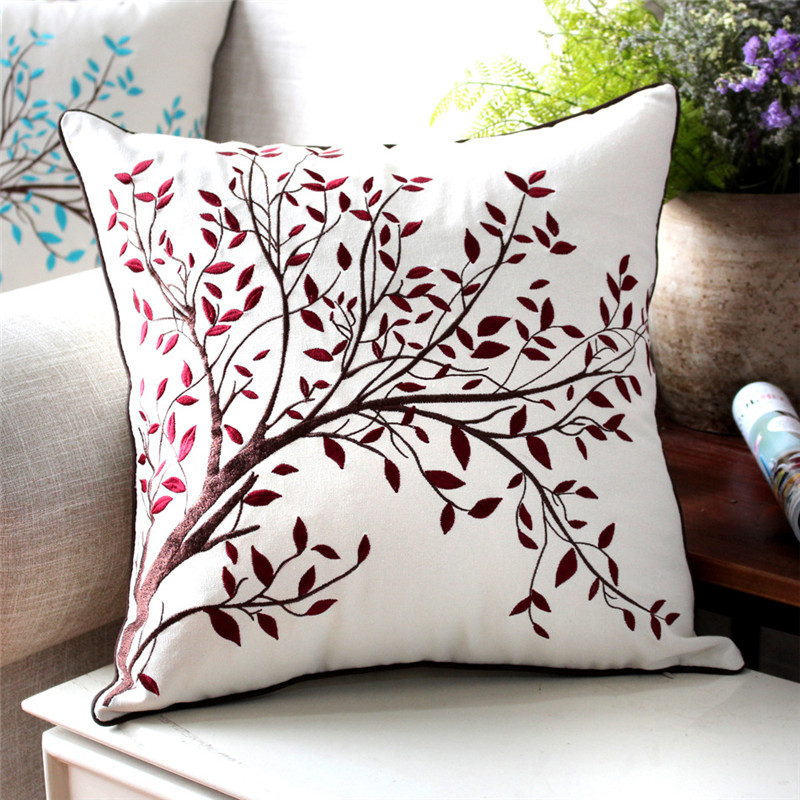 Gracious Home Decorative Pillows : Cushion Cover Decorative Pillows Almofada Cushions Embroidery Cotton Linen Sofa Throw Pillows ...