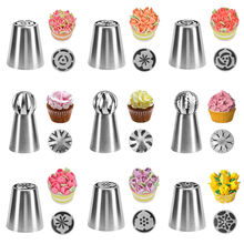 2pcs/set Russian Nozzles Cake Cupcake Decoration Stainless Steel Piping Nozzle Tulip Sphere Pastry Tips Baking Accessories