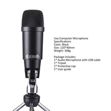LESHP Portable Metal Black Wired Audio USB Microphone Plug &Play With Tripod Home Studio for Skype Recordings