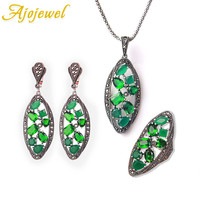 Ajojewel Multicolor Beautiful Zircon Ethnic Jewelry Sets For Women High Quality Leaf Design New Jewelry For Party Wedding Gifts