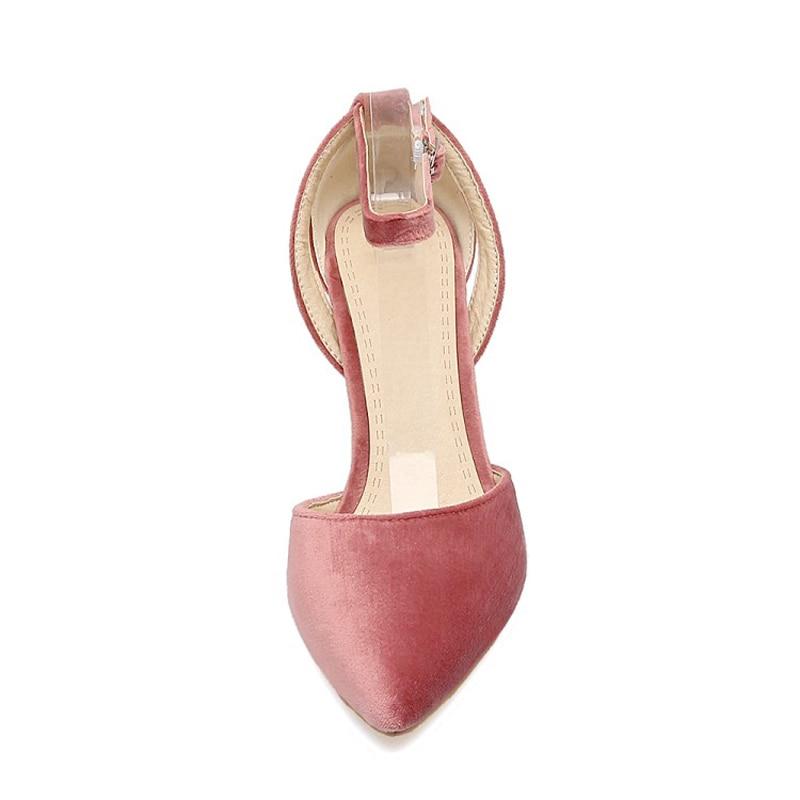 Finos Estiletes gris Más rosado Janes Terciopelo Pie Tacones Correa Punta Mary Mujeres Bombas Dedo Del Flock Tamaño Negro Casual Hebilla Sólido Moda Zapatos HwAnUq