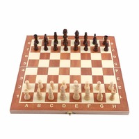 1 Set Portable Wooden Chess Set Backgammon Board Games Chessboard International Chess For Party Family Games