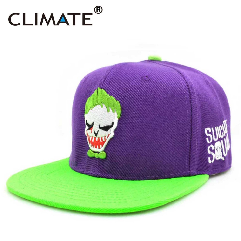 CLIMATE 2017 New Suicide Squad Harley Quinn Joker Flat Snapback HipHop Caps Hat Unisex Youth Adult Men Women Joker Snapback Cap climate 2017 pocket monster go game pikachu flat snapback caps adult men women animation cartoon cute comic orange eevee hat cap