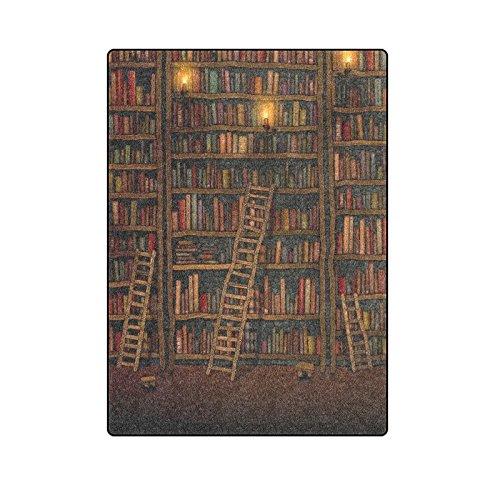 "58 ""x 80"" (grote) Grappige Vintage Bibliotheek Boek Boekenplank Boekenkast Fleece Dekens Gooien"