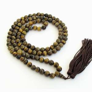 8mm Tiger Eye Gem Beads Rosary Prayer Mala Necklace