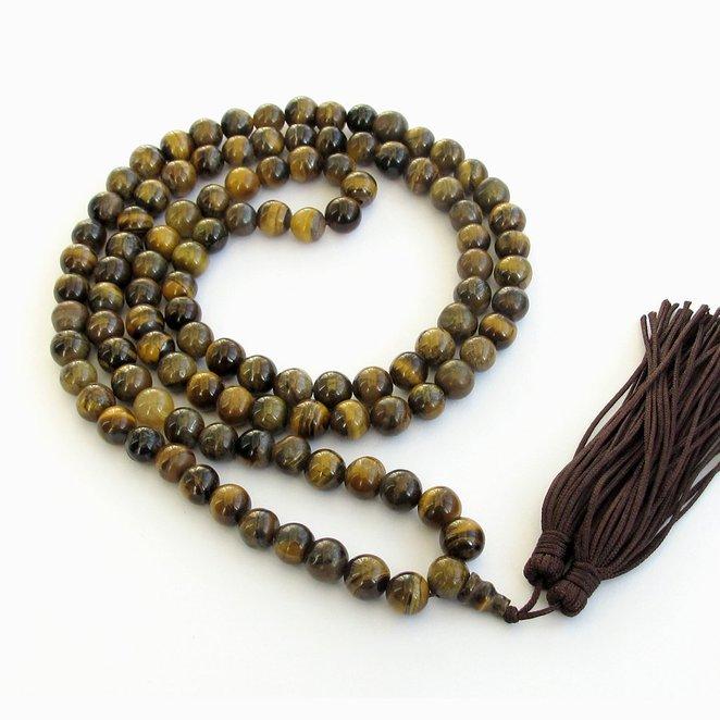 8mm Tiger Eye Gem Beads Rosary Prayer Meditation 108 Japa Mala Necklace