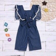 81b167c09973 1-5Y Toddler Kids Baby Girl Overalls Strap Sleeveless Back Bow Denim Bib Bell  Bottom