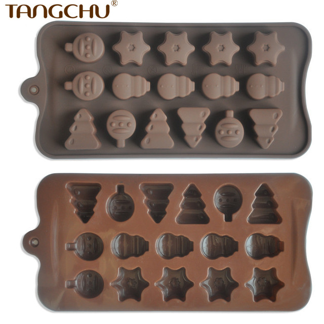 food grade silicone christmas candy decorating molds xmas biscuit mold ice cube tray baking pan - Christmas Candy Molds