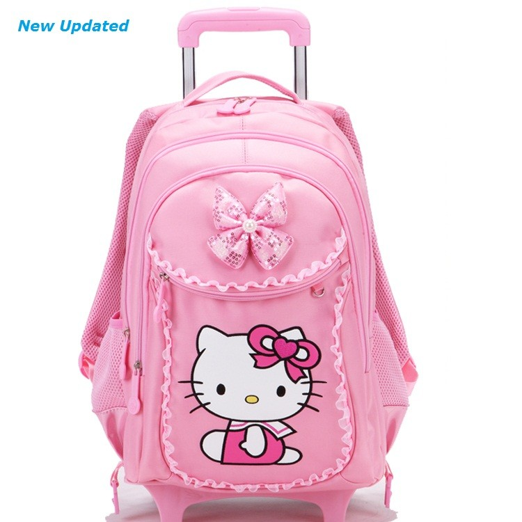 36ede08751fe Free Shipping Hello Kitty Children School Bags Mochilas Kids Backpacks With Wheel  Trolley Luggage For Girls