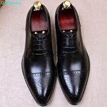 QYFCIOUFU Hot Handmade Classic formal shoes men Fashion Party Office Wedding Dress Shoe Male Genuine Leather Men Oxford Shoes