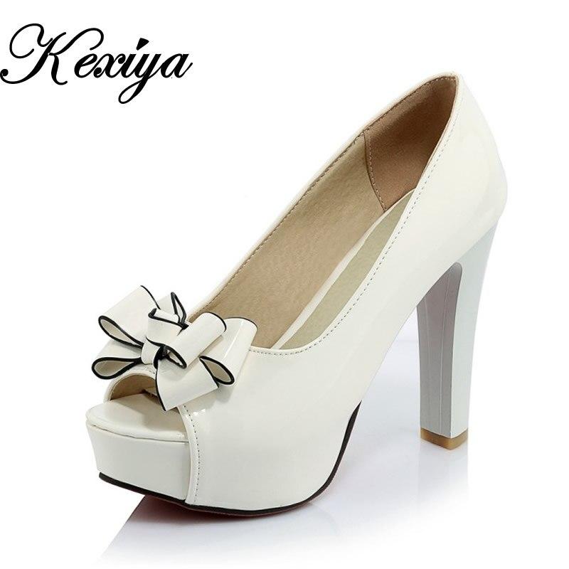 Big size 32-43 red women wedding shoes fashion peep toe ladies pumps sexy bowknot decoration Slip-On platform high heels M628
