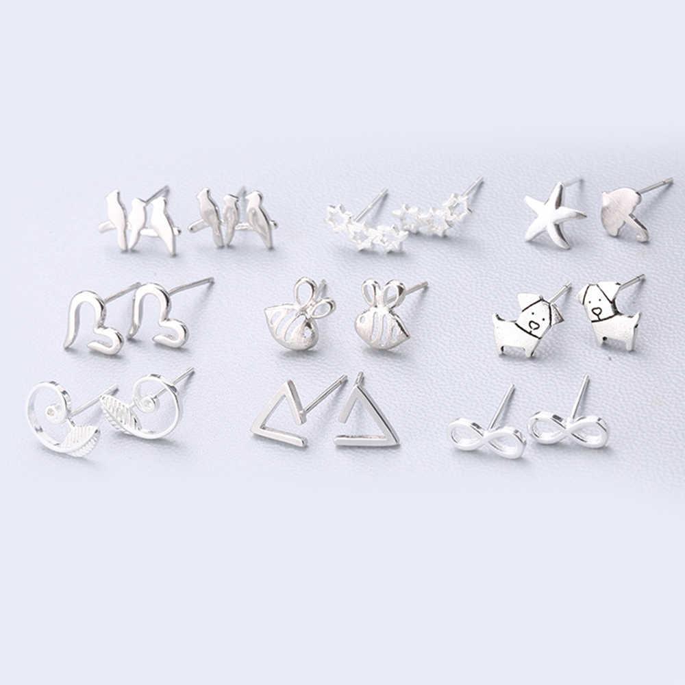 Xiyanike moda geometria brinco venda quente 925 prata esterlina bonito brinco de orelha agulha personalidade simples para mulher 127-144