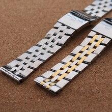 Plata con oro correa de acero inoxidable hebilla desplegable de implementación de reemplazo de la alta calidad correas de reloj 22 mm 24 mm ancho hombre