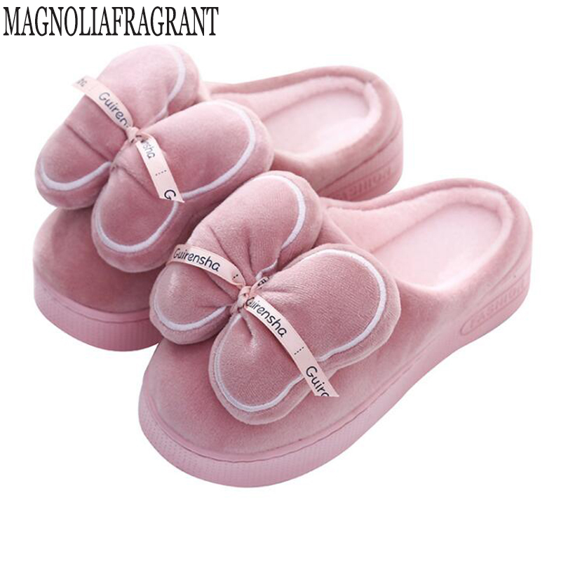 Indoor House Slipper Soft Plush Cotton Slippers Shoes Non-Slip Floor Home Furry Women Shoes Bow platform winter slippers c298 tolaitoe new winter warm home women slipper cotton shoes plush female floor shoe bow knot fleece indoor shoes woman home slipper