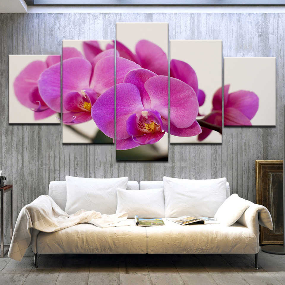 Modular Pictures Wall Art Canvas HD Prints Posters 5 Pieces Purple Moth Orchid Flower Paintings Living Room Home Decor Framework