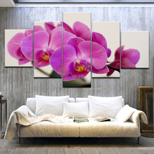 цена на Modular Pictures Wall Art Canvas HD Prints Posters 5 Pieces Purple Moth Orchid Flower Paintings Living Room Home Decor Framework