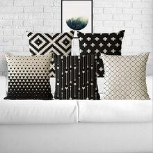 45X45 cm Nordic escandinavo Decoración Almohada fundas de Colchón cubre Geométrica Throw fundas de almohada funda de Cojín blanco y negro