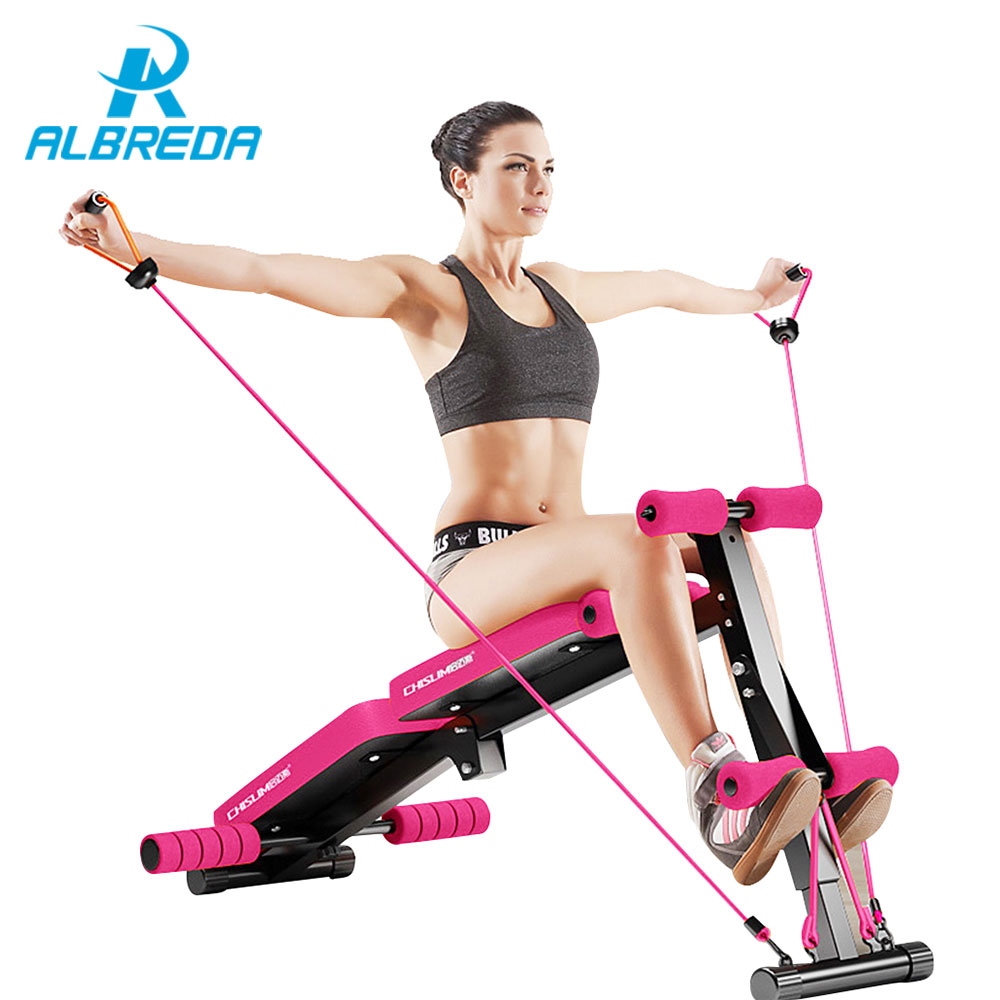 ALBREDA New Sit Up Bench fitness equipment for home Foldable abdominal waist trainer bench women ab mat the exercise machine цена