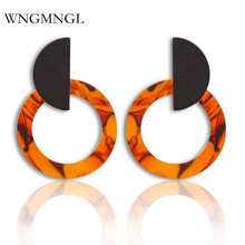WNGMNGL 2018 New Female Drop Earrings Vintage Statement Coffee Gray Color Acrylic Dangle earrings For Women Fashion Ear Jewelry