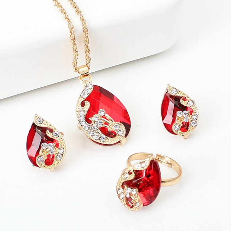 Hot Exquisite Jewelry Sets 5 Colors Crystal Earring/Necklace/Adjust Ring Noble Peacock Set Wedding Party Bijoux Accessories