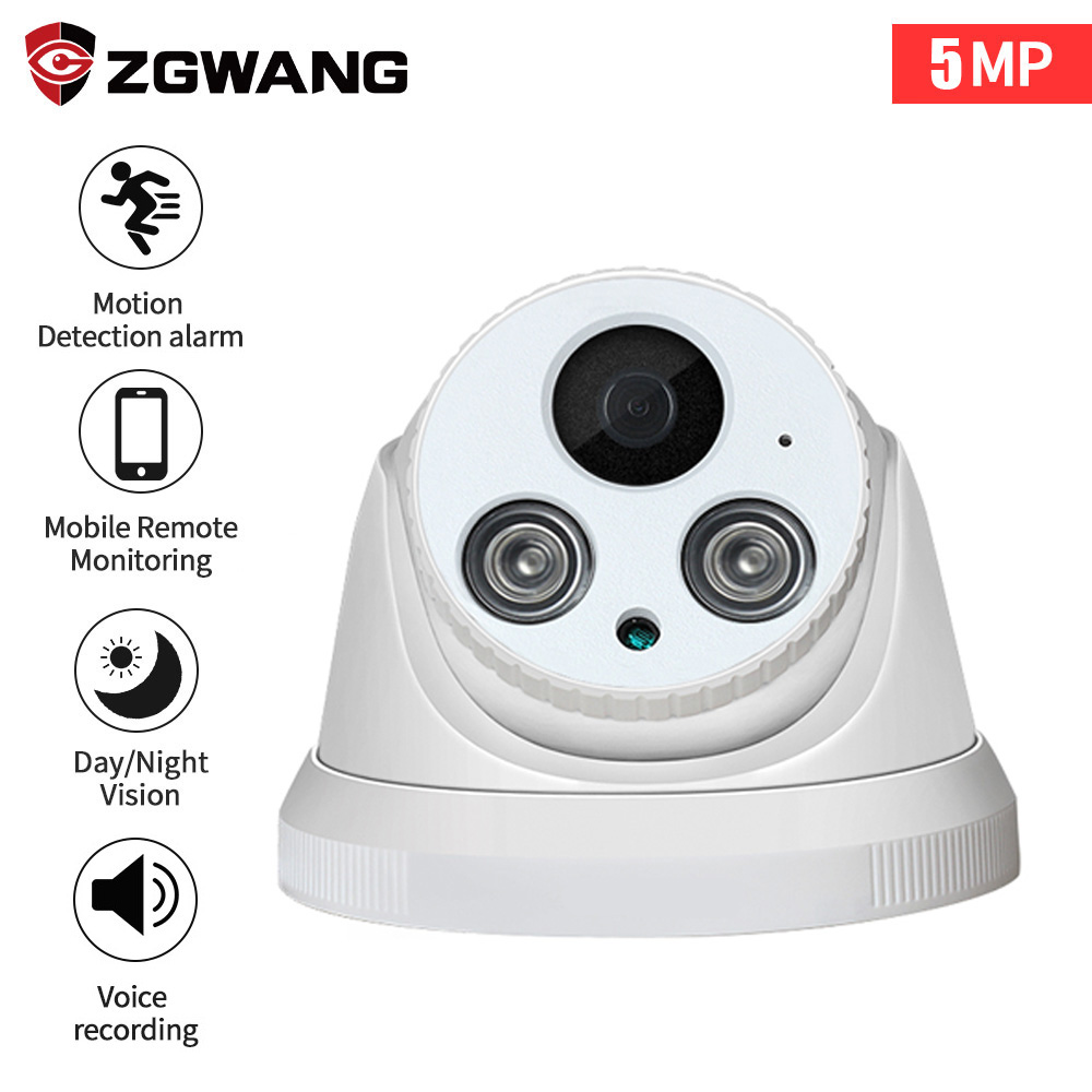 ZGWANG 5MP HD IR LED IP Camera Security indoor Dome CCTV ONVIF Network CCTV Surveillance Cameras Audio mini ipcam